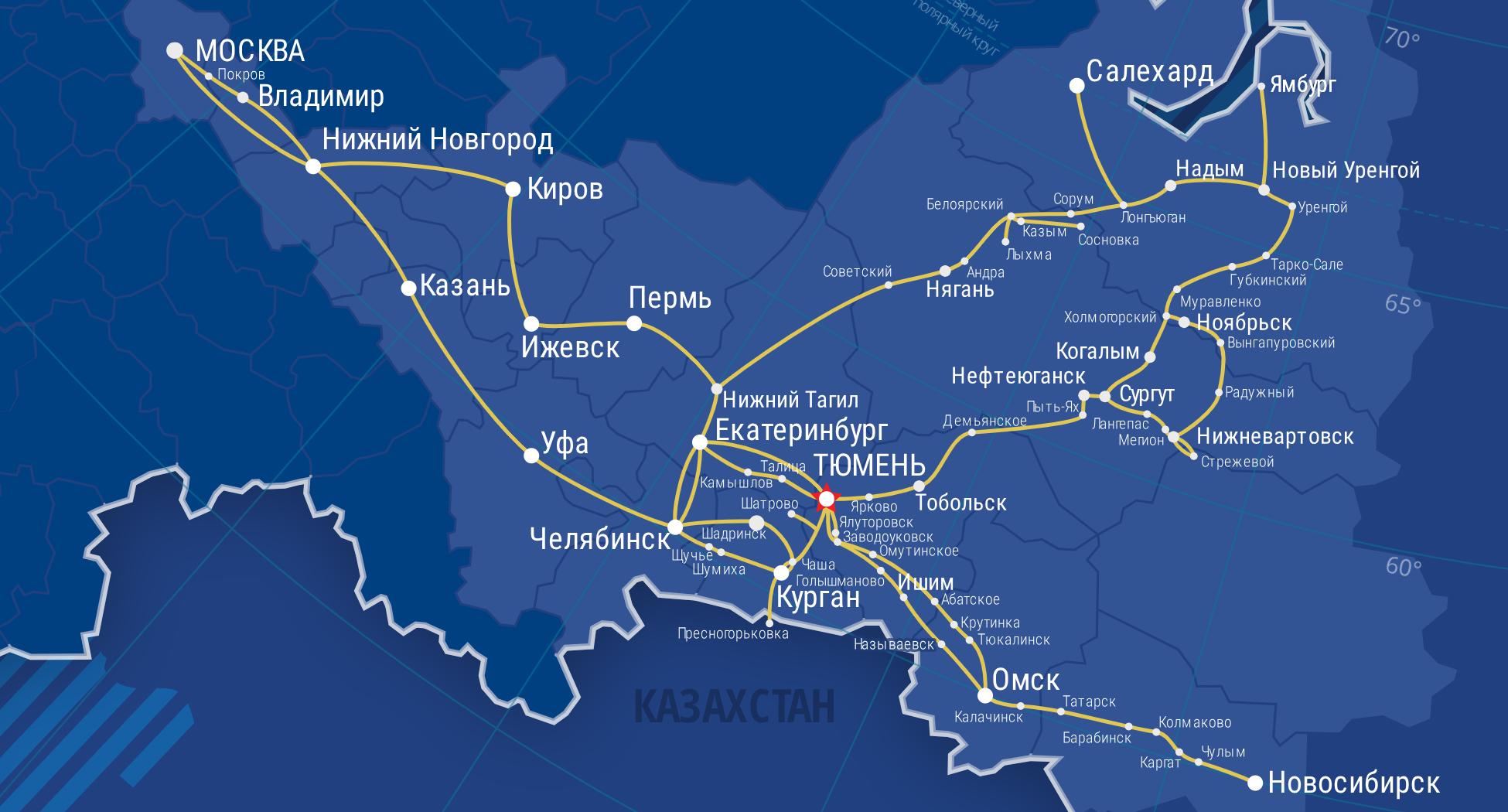 Карта магистралей ВОЛС ООО «Зуммер»